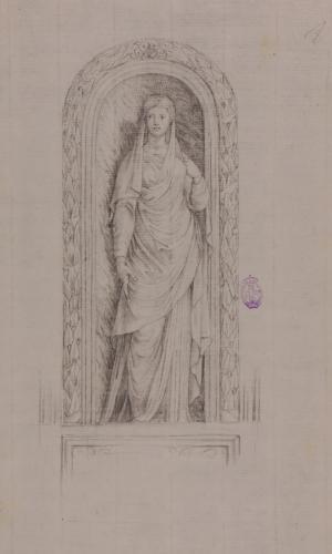 Estudio de escultura romana femenina en una hornacina