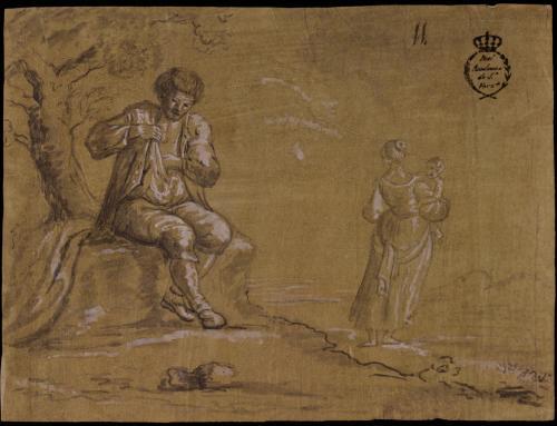 Estudio de campesino sentado y mujer con niño