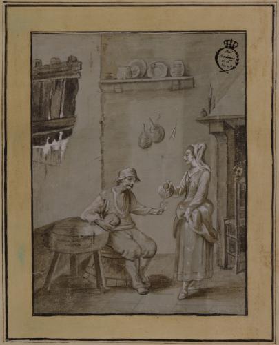 Estudio de mujer sirviendo de beber a un campesino