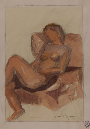 Estudio de desnudo femenino recostado