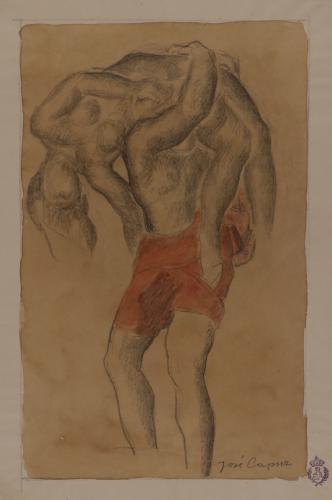Estudio de hombre llevando una mujer a hombros