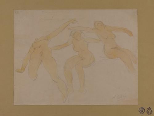 Estudio de tres mujeres desnudas bailando