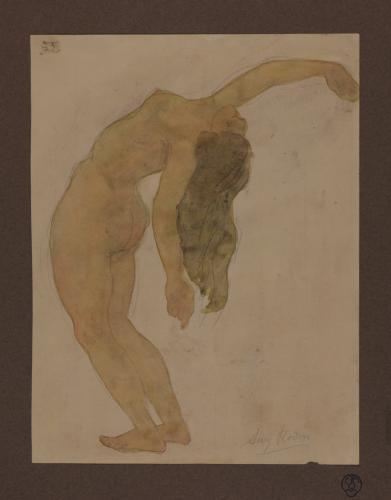 Estudio de mujer desnuda contorsionada