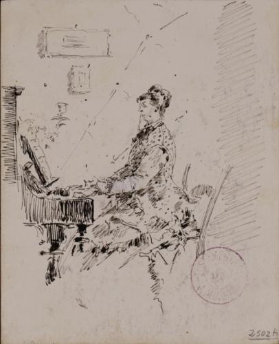 Estudio de mujer tocando el piano