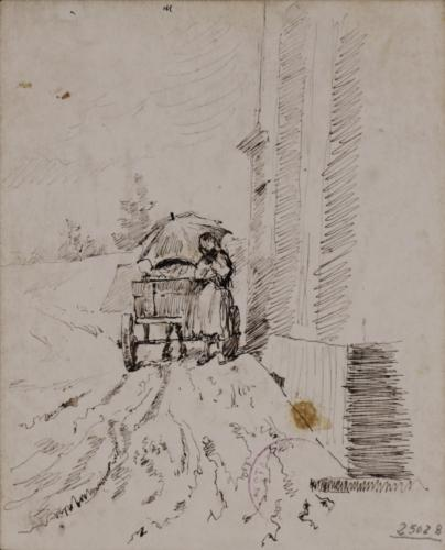 Estudio de campesinos y un carro