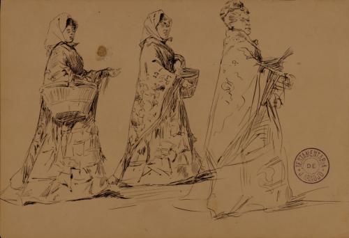 Estudio de tres mujeres con mantón y cesto