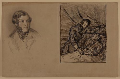 Estudio de retrato masculino y escena de médico y enfermo