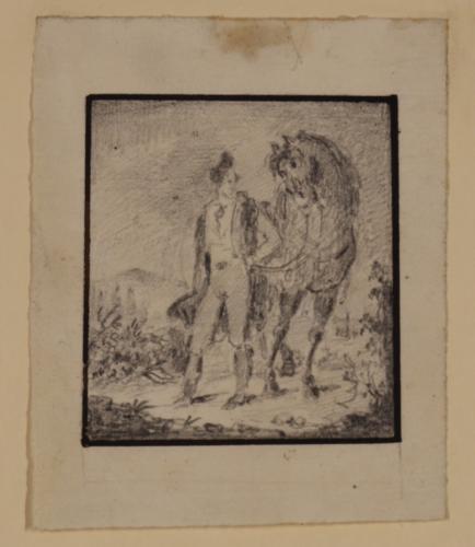 Estudio de jinete y caballo