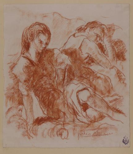 Estudio de dos mujeres sentadas