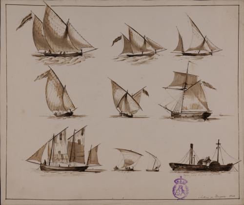 Estudio de nueve barcos de vela y un vapor