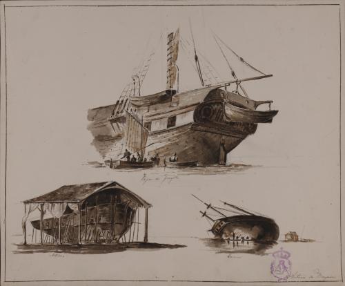 Estudio de la popa de una fragata, un astillero y una carena