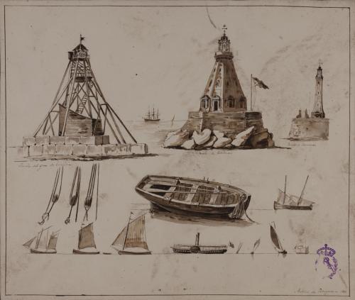 Estudios de faros, embarcaciones y jarcias