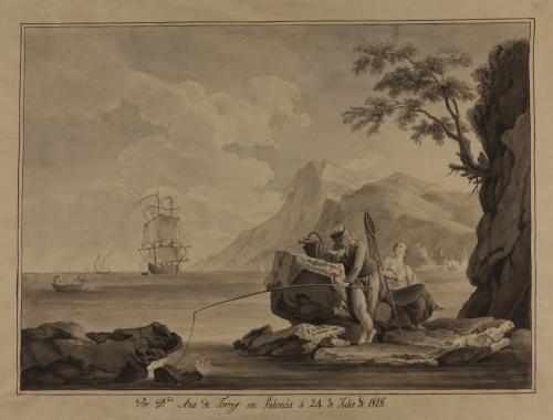 Estudio de paisaje marino con pareja de pescadores