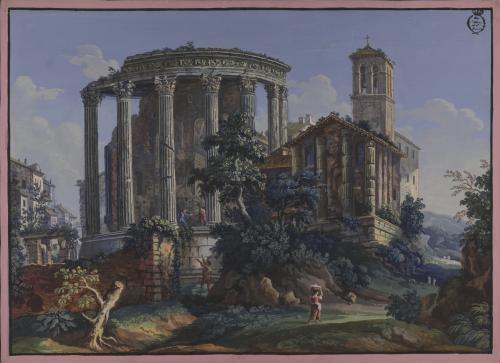 Vista de los templos de Vesta y de la Sibila en Tívoli