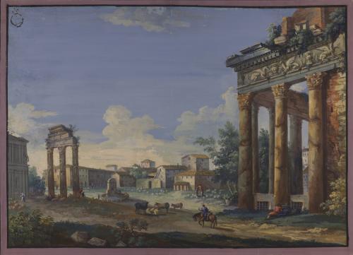Vista del templo de Antonino y Faustina (Campo Vaccino).