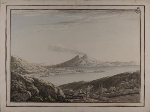 Vista de la bahía de Nápoles y el Vesubio.