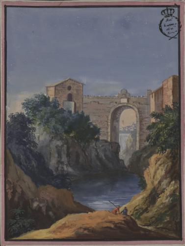 Puente de San Rocco y cascada en Tívoli