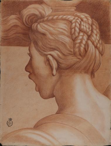Estudio de cabeza femenina de tres cuartos de espaldas
