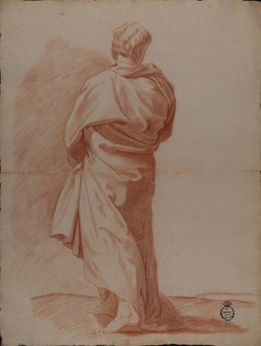 Estudio de figura masculina togada de espaldas