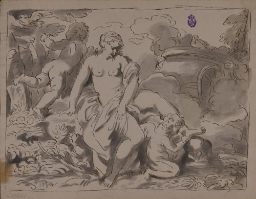 Estudio de un amorcillo sacándole una espina del pie a Venus