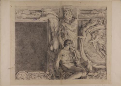 Estudio del medallón Boreas rapta a Oritia, un Atlante y una figura de joven sentada