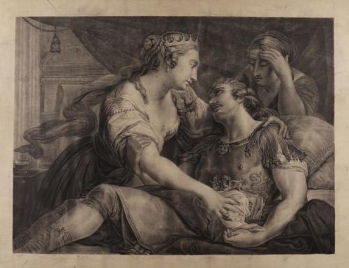 Estudio de la muerte de Marco Antonio asistido por Cleopatra