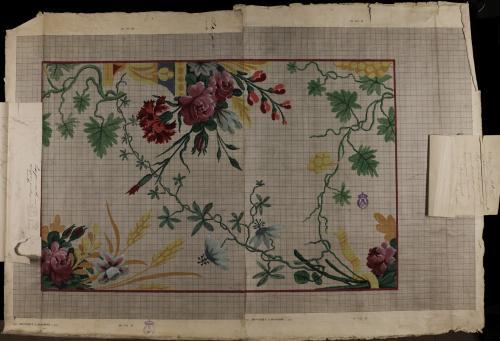 Composición de un dibujo en punto floral para casulla