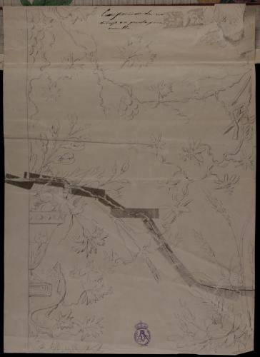 Apunte de composición de un dibujo en punto floral para casulla