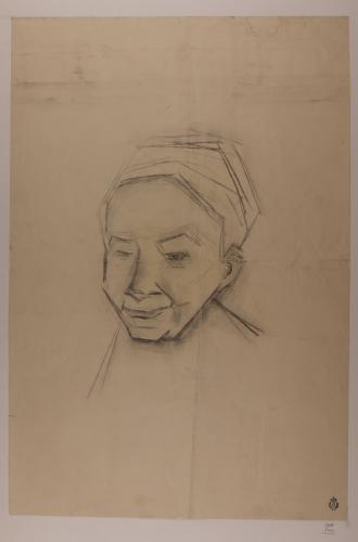 Estudio de cabeza femenina con pañuelo en la cabeza