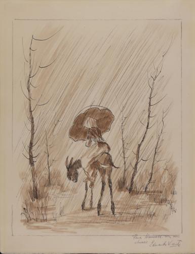 Mujer en burro bajo la lluvia