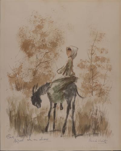Mujer montada en un burro