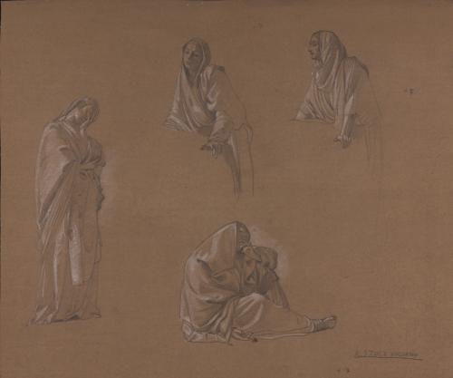 Estudio de figuras femeninas y masculina condolientes