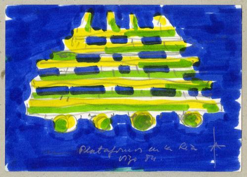 Apunte de las plataformas en la ría de Vigo