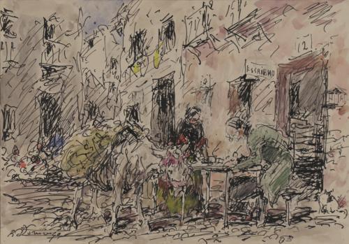Estudio de un escribano en un pueblo