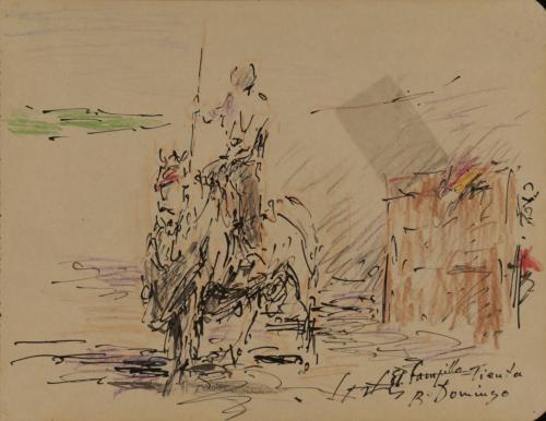 Estudio de de hombre a caballo en un tentadero