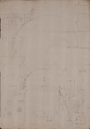Alzado y sección del arco y sección de columna del pórtico de Octavia [y de Livia] en Roma