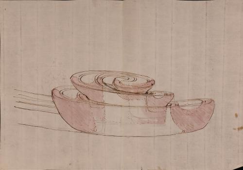 Vista de perfil de una voluta de un capitel corintio