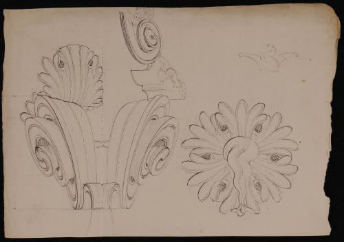 Volutas y detalles de un capitel corintio