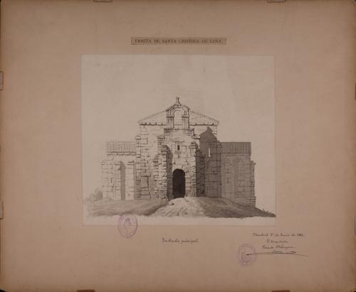 Alzado de la fachada principal de Santa Cristina de Lena (Asturias)