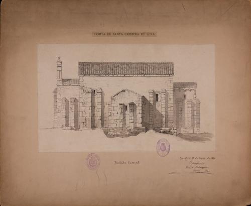 Alzado de la fachada sur de Santa Cristina de Lena (Asturias)