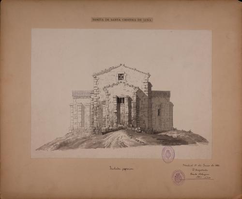 Alzado de la facha posterior de Santa Cristina de Lena (Asturias)