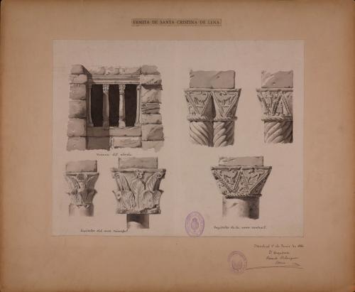 Ventana del ábside y capiteles del arco triunfal y nave central de Santa Cristina de Lena (Asturias)