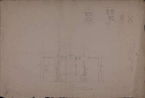Sección AB de la nave y detalles de las celosías del iconostasio de Santa Cristina de Lena (Asturias)