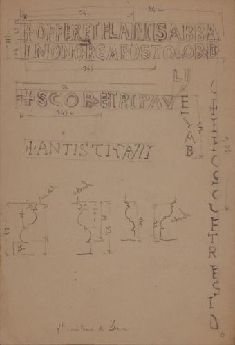 Inscripciones del iconostasio y secciones de basas y capiteles de Santa Cristina de Lena (Asturias)