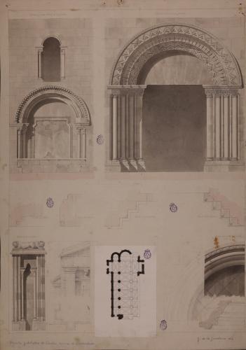 Planta y alzado y planta de la puerta central, lateral y ventana de la iglesia de Santa María de Valdediós (Asturias)