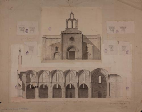 Alzado de la fachada, sección longitudinal y capiteles de la nave de la iglesia de Santa María de Valdediós (Asturias)