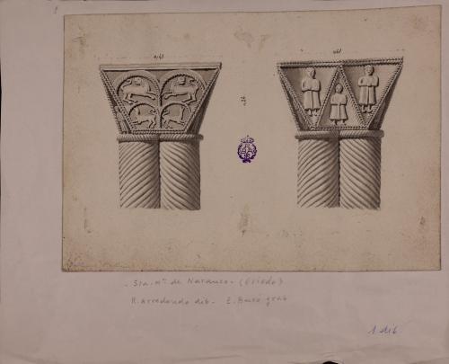 Capiteles de columnas sogueadas de Santa María del Naranco (Oviedo, Asturias)