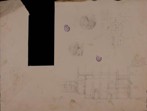 Apunte de la sección longitudinal, celosía y medallón de la nave de Santa Cristina de Lena (Pola de Lena, Asturias)