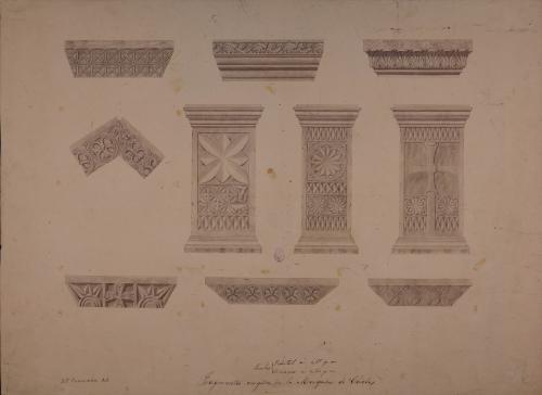 Pedestales de pilas bautismales, cimacios y fragmentos arquitectónicos visigodos de la mezquita de Córdoba
