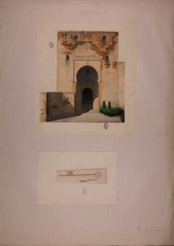 Alzado de la puerta de la Justicia de la Alhambra y llave